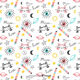 カラフルな落書き猫と言葉のパターン