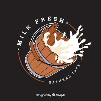 有機牛乳桶のロゴのテンプレート
