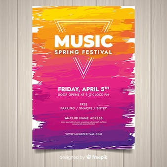Шаблон плаката абстрактный музыкальный фестиваль краски