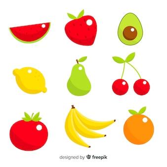 平らな野菜や果物の背景