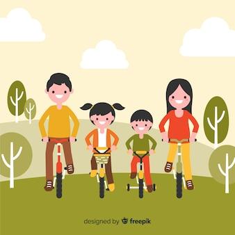 自転車に乗る背景家族