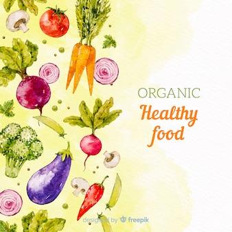 水彩の健康食品の背景