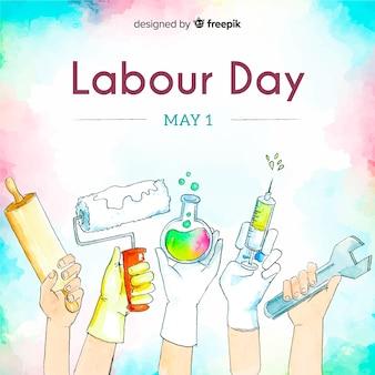 水彩労働日の背景