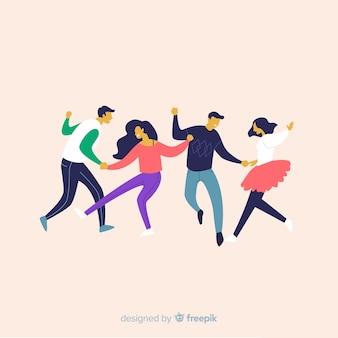 Ручной обращается молодые люди танцуют пакет