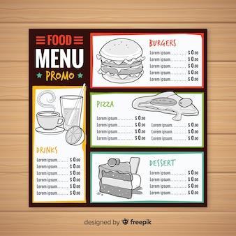 Ручной обращается шаблон меню ресторана