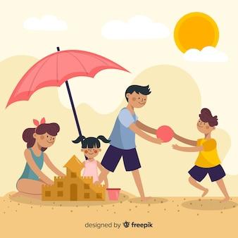 ビーチでの手描き家族