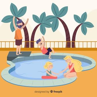 プールで手描きの家族