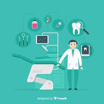歯の背景の世話をしている平らな歯科医