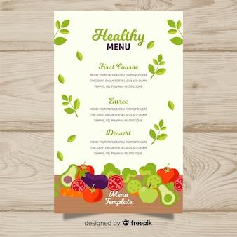 Шаблон меню из свежих фруктов и овощей