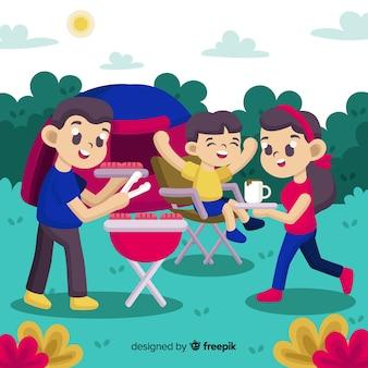 屋外の家族