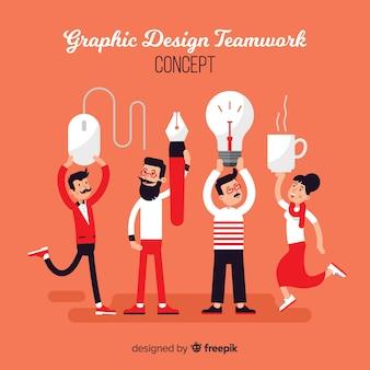 グラフィックデザインチームワークの概念