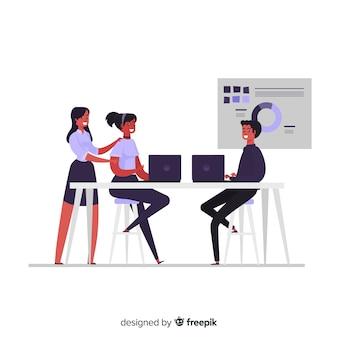 Положение людей в офисе плоском фоне