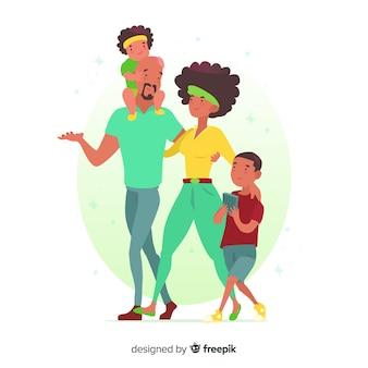 手描き家族屋外の状況