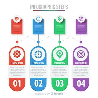 Плоские инфографика шаги