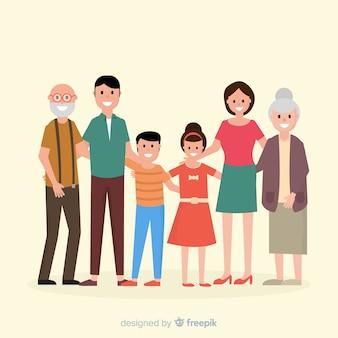 平らな家族の肖像画