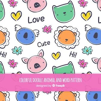 動物や言葉のパターンを落書き