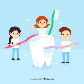 歯の概念の世話をしている平らな歯科医