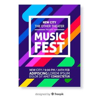 カラフルな抽象音楽祭ポスターテンプレート