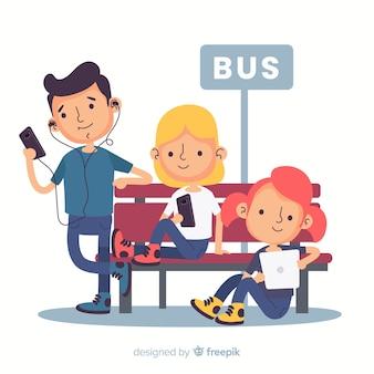 デバイスの背景を使用して手描きの若い人たち
