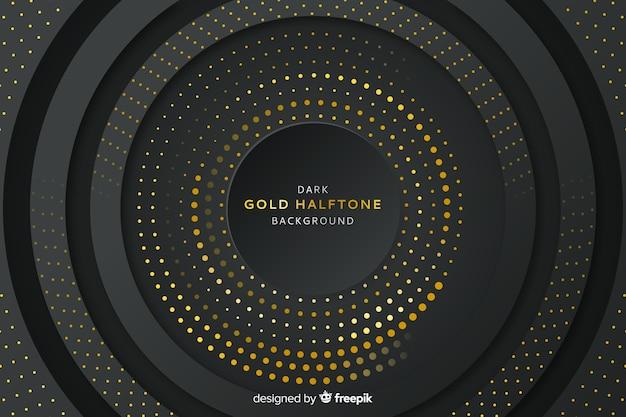 金色のハーフトーン効果と暗い背景