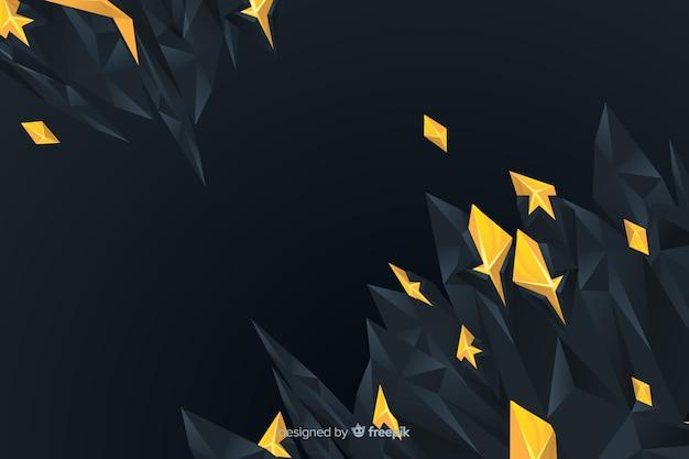 多角形の暗いと金色の背景