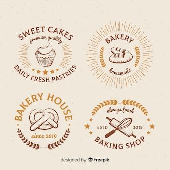 Коллекция старинных хлебобулочных логотипов