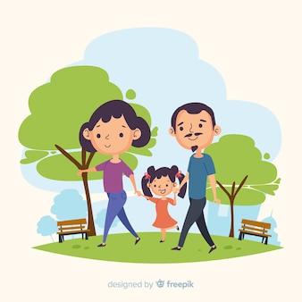公園で描かれた家族を手します。