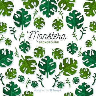 Рисованной монстера листья фон