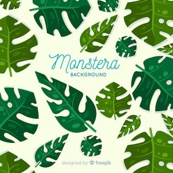 手描きモンステラの葉の背景
