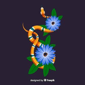 花と葉の背景と蛇