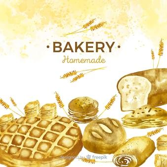 水彩ペストリーとパンの背景