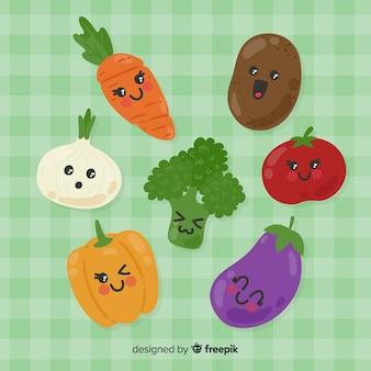 Рисованная очаровательная коллекция фруктов и овощей