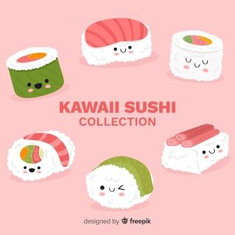 Нарисованная вручную очаровательная коллекция суши