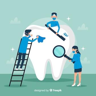 Стоматолог чистка больших зубов фона