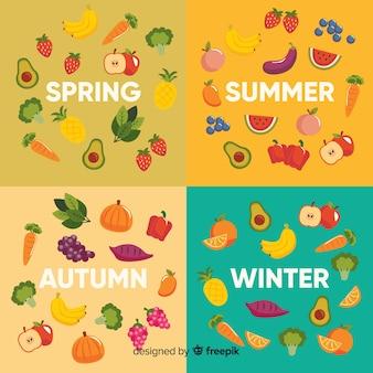 季節の野菜や果物のカラフルなフラットカレンダー