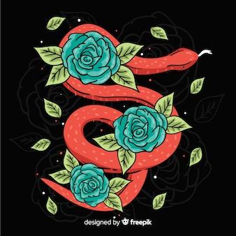 手描きの蛇と花