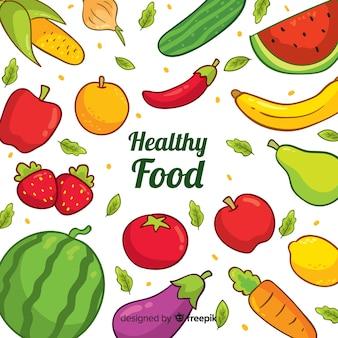 Рисованной здоровой пищи фон