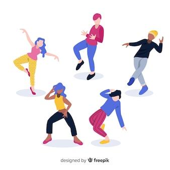 手描きの背景を踊る人々