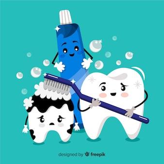 Ручной обращается зуб, чистить фон