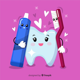 歯ブラシと歯磨き粉で手描きのきれいな歯