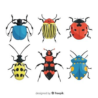 Рисованная красочная коллекция жуков