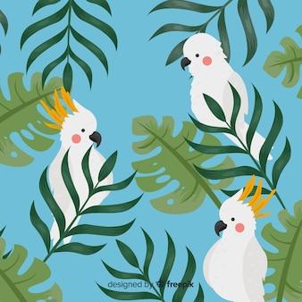 Попугаи тропического фона