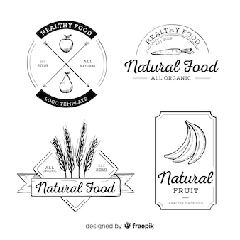 Бесцветная рисованной логотип здорового питания набор
