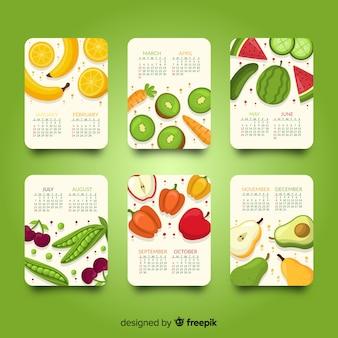 季節の野菜や果物の手描きのカレンダー