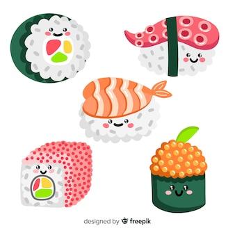 Коллекция рисованной очаровательны суши