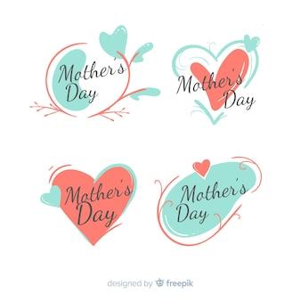 Нарисованная рукой коллекция значка дня матери