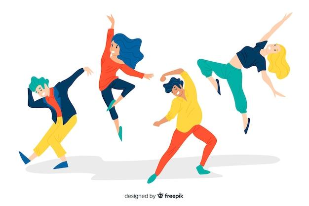 Рисованной люди танцуют фон