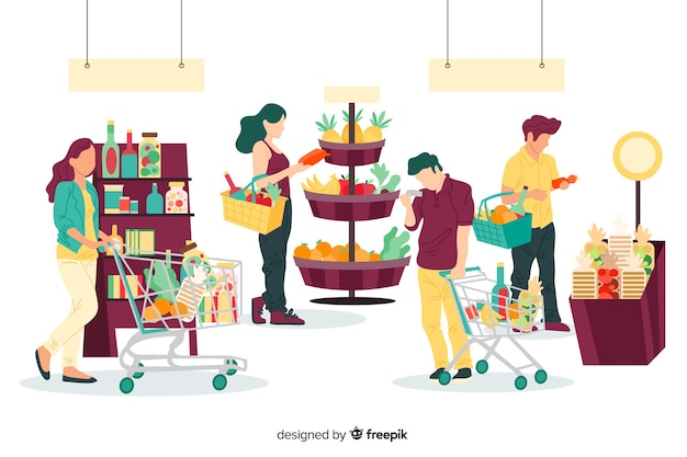 スーパーマーケットのバックグラウンドで買い物に描かれた人々を手します。