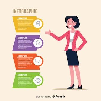 平らなインフォグラフィックデザインテンプレート