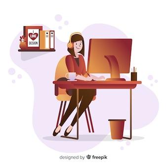 Графический дизайнер на рабочем месте